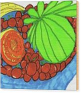 Fruit In A Blue Bowl Wood Print