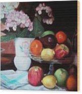 Fruit On Glass Dish II Wood Print