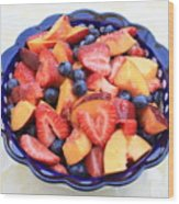 Fruit Salad In Blue Bowl Wood Print