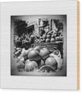 Fruit Seller Blue City Street India Rajasthan Bw 1b Wood Print