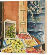 Fruit Shop In San Gimignano Wood Print