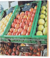 Fruit Stand Wood Print