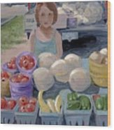 Fruit Stand Girl Wood Print
