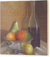 Fruit With Bottle Of Wine Wood Print
