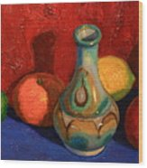 Fruit With Ceramic Vase Wood Print