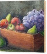 Fruit With Hydrangea Wood Print