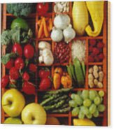Fruits And Vegetables In Compartments Wood Print