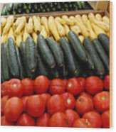Fruits And Vegetables On Display 1 Wood Print