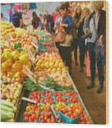 Fruits And Vegetables - Pike Place Market Wood Print