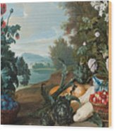Fruits Flowers And Vegetables In A Landscape Wood Print