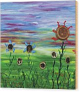 Fruity Flowerfield Wood Print