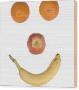Fruity Happy Face Wood Print