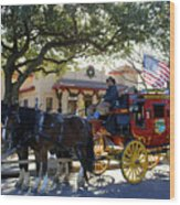 Ft Worth Stockyards Stagecoach  Wood Print