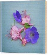 Fuchsia And Cranesbill Wood Print