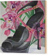Fuchsia Orchid Colour Block Wood Print