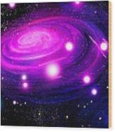 Fuchsia Pink Galaxy, Bright Stars Wood Print