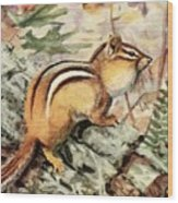 Fuertes, Louis Agassiz 1874-1927 - Burgess Animal Book For Children 1920 Striped Chipmunk Wood Print