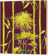 Fuji Mums And Bamboo Wood Print by Janis Grau