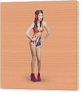 Full Body Pin-up Girl. American Retro Style Wood Print