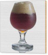 Full Draft Dark Beer In Glass Goblet  Wood Print