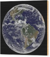 Full Earth Showing North America Wood Print