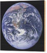 Full Earth Wood Print by Stocktrek Images