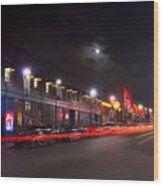 Full Moon And Night Clubs Wood Print