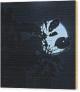 Full Moon And Tree Wood Print