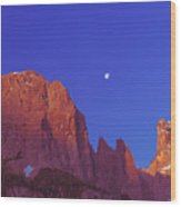 Full Moon At Dawn In The Dolomites Wood Print