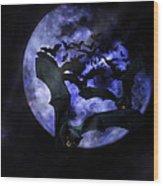 Full Moon Bats Wood Print