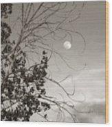 Full Moon Behind Cottonwood Tree Wood Print