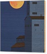 Full Moon Behind Tuxford Grain Elevator Wood Print