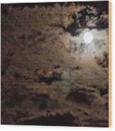 Full Moon Cloudy Night Wood Print
