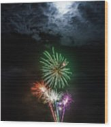 Full Moon Fireworks Wood Print