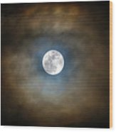 Full Moon In The Clouds Wood Print
