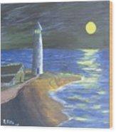 Full Moon Lighthouse Wood Print