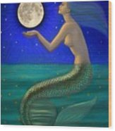 Full Moon Mermaid Wood Print