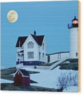 Full Moon Nubble Wood Print