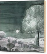 Full Moon Olive Tree  Wood Print