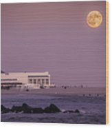 Full Moon Over Cape May Wood Print