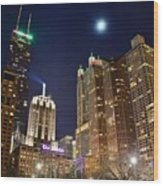 Full Moon Over Chi Town Wood Print