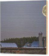 Full Moon Over Farm. Wood Print