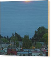 Full Moon Over Floating Homes On Columbia River Wood Print