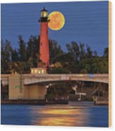 Full Moon Over Jupiter Lighthouse, Florida Wood Print