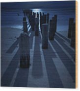 Full Moon Over Naples Pier In Naples, Fl Wood Print