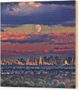 Full Moon Over New York City In October Wood Print
