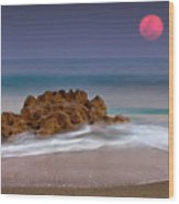 Full Moon Over Ocean And Rocks Wood Print