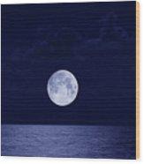 Full Moon Over Ocean, Night Wood Print