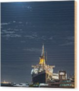 Full Moon Over Queen Mary Wood Print