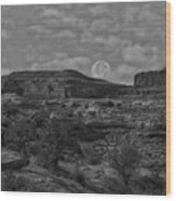 Full Moon Over Red Cliffs Bw Wood Print